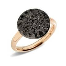 Italian 18k gold black diamond ring